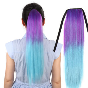 purple blue hair extension unicorn pony tail