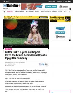 Glitter Girl: 10-year-old Sophia Rizzo the brains behind Gold Coast's top glitter company
