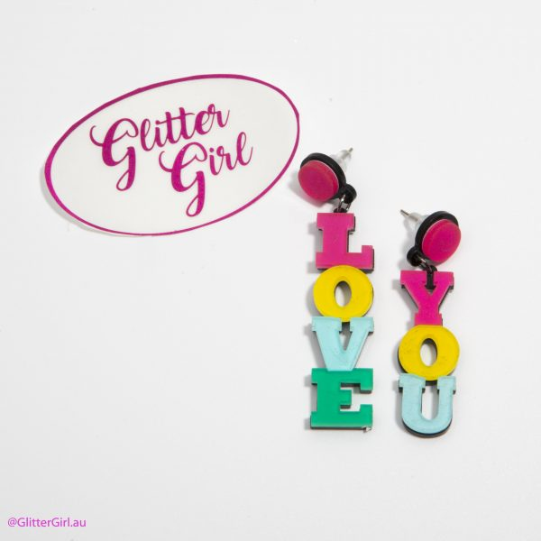 Acrylic Earrings Glitter Girl gold Coast