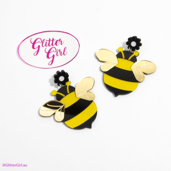 Acrylic Earrings Glitter Girl gold Coast Bumble Bee