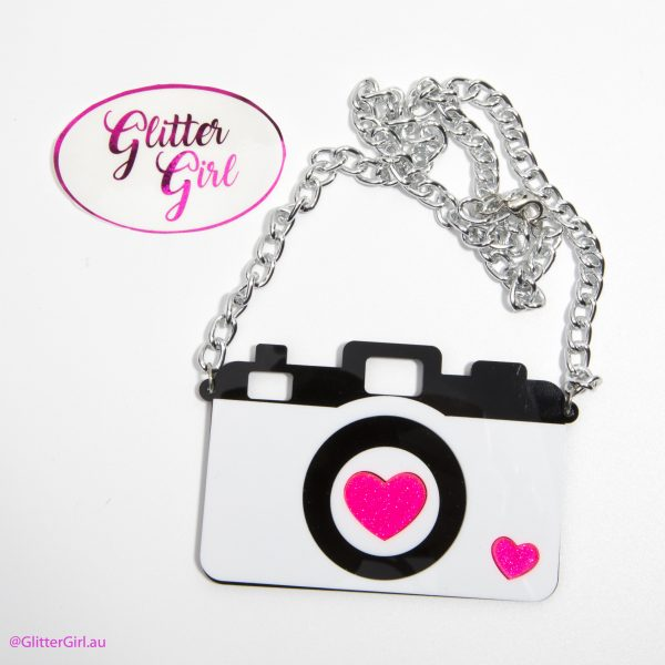 Acrylic Necklace Glitter Girl gold Coast Camera