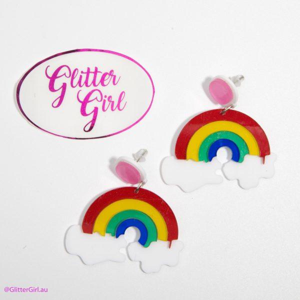 Acrylic earrings Glitter Girl gold Coast rainbow clouds