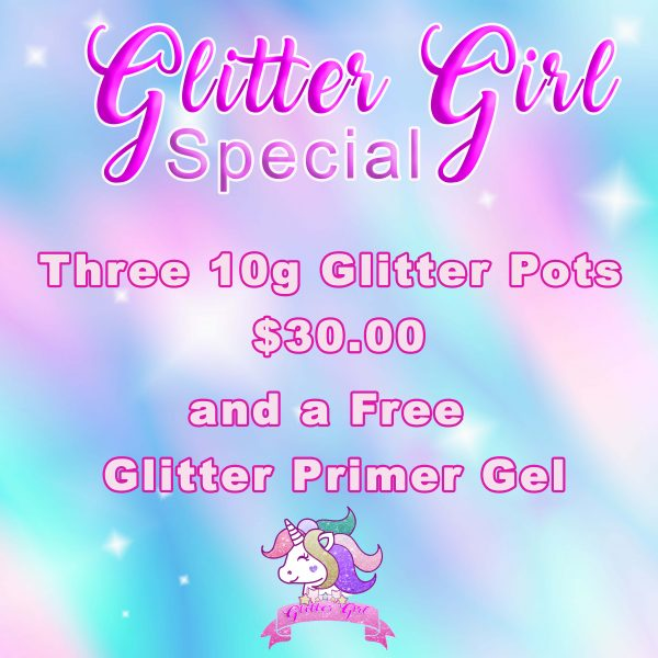 3 glitter pots with primer gel