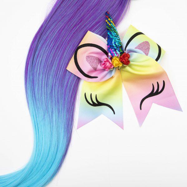 Purple Aqua Ponytail with bow