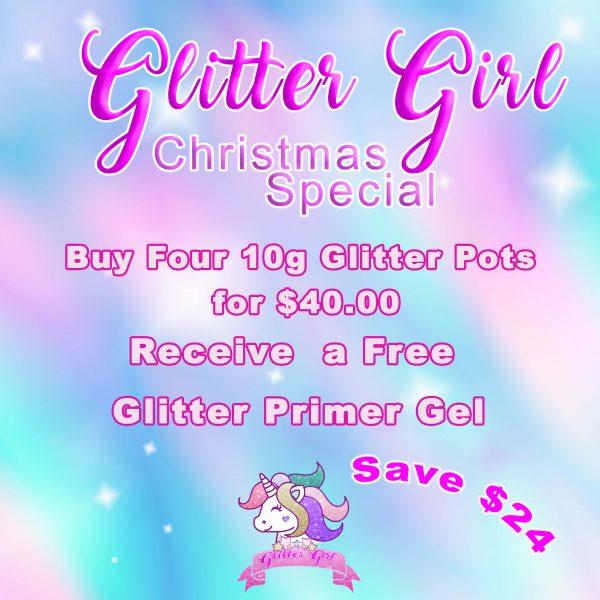4 glitter pots with primer gel
