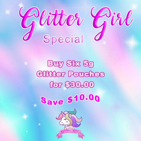 6 glitter pouches deal
