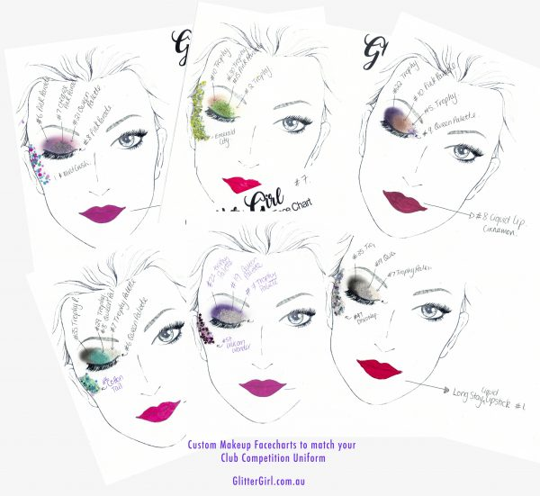 Makeup face chart for cheer and dance